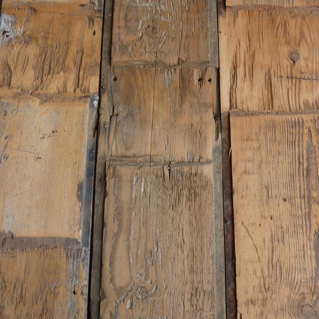 Reclaimed hand adzed Georgian Pine boards