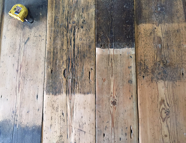 Reclaimed floorboards are hand DA sanded to clean and repair without losing any texture or patina