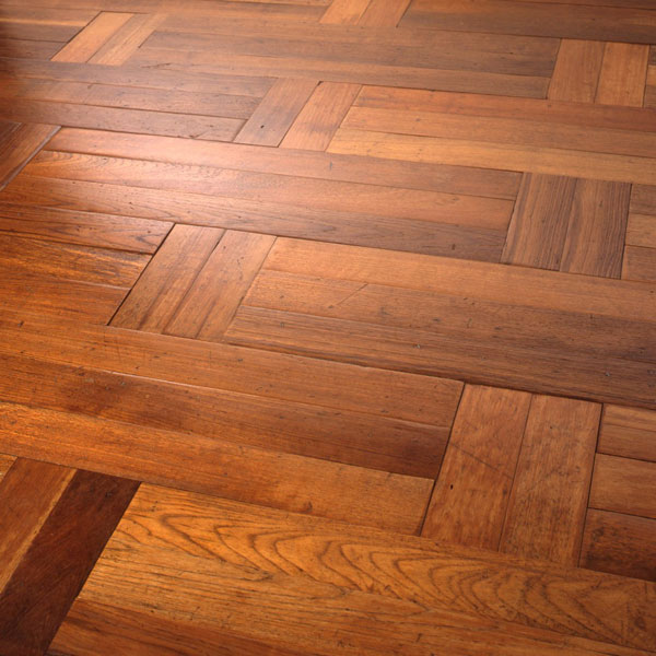 Reclaimed Burmese teak tongue and groove strip, cut to bespoke design and laid in Flemish stretcher bond pattern