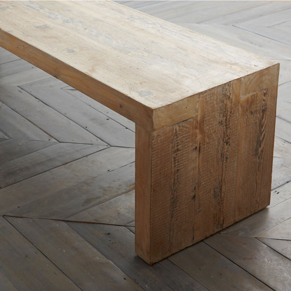 reclaimed Baltic yellow pine bench with large dovetail joints. Matching items available including tables, worktops, bar tops to any desig