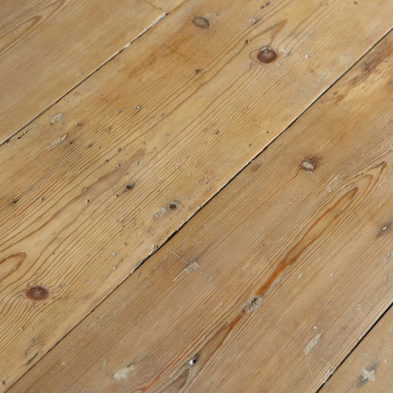 Reclaimed original London floorboards. Slow-grown pine. Textured surface is hand DA sanded, to clean whilst retaining history and timeworn beauty