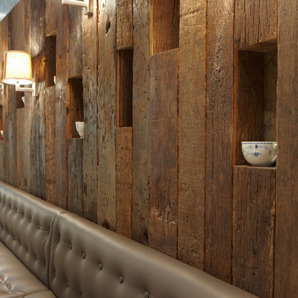 reclaimed antique barrel oak wall cladding, 12mm overlay to reduce weight, hand sanded and machine brushed to show characterful surface
